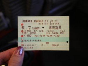 東京から那須高原行きのチケット