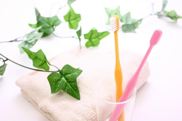 ピンクと黄色の歯ブラシ